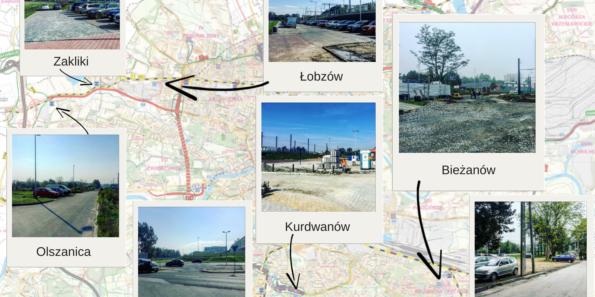 """Mapa """"wątpliwych"""" parkingów park and ride w Krakowie"""