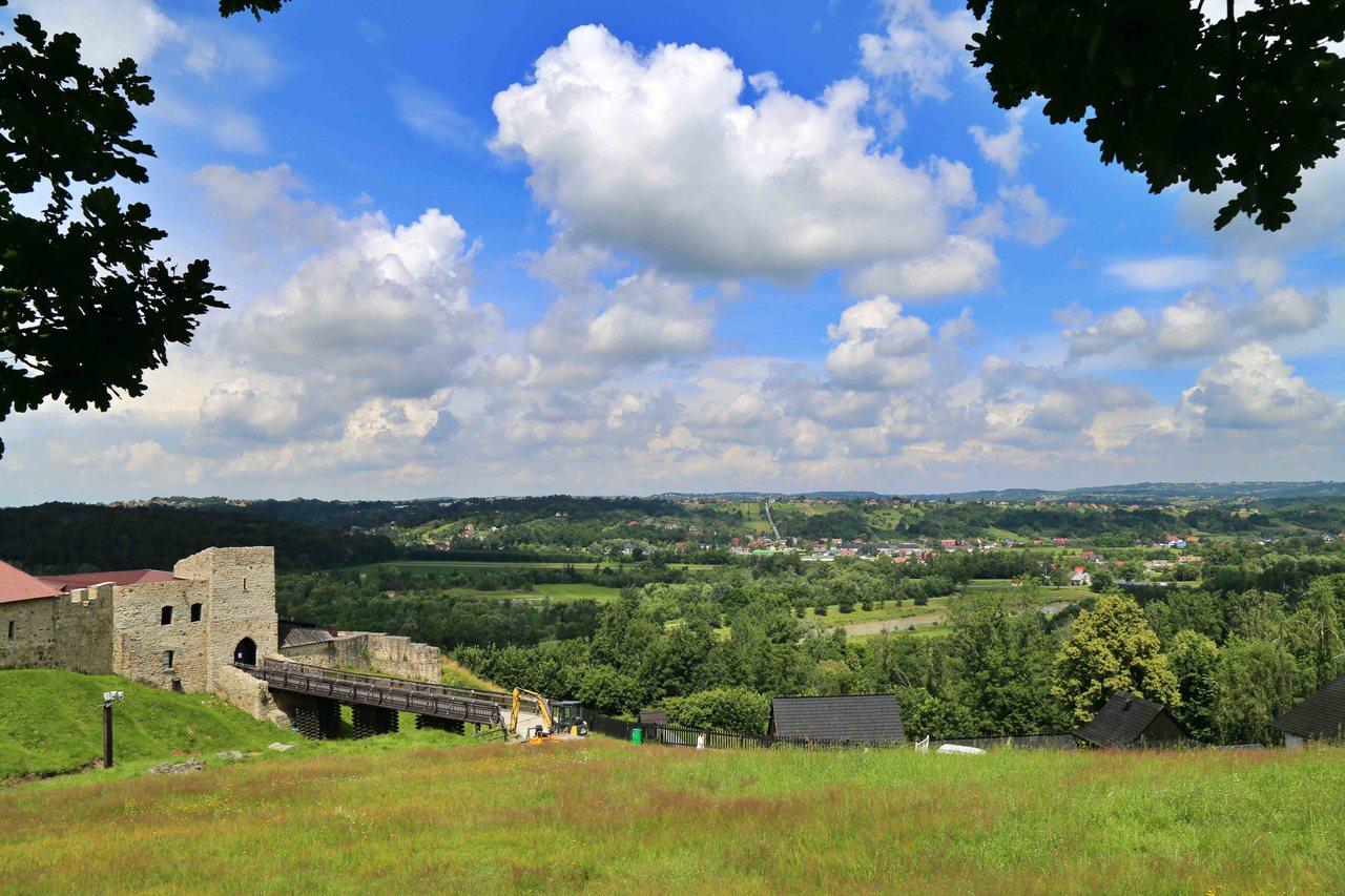Widok ze wzgórza obok zamku